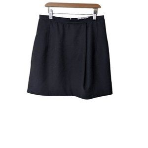 Carven Wool Blend A-Line High Waist Mini Skirt